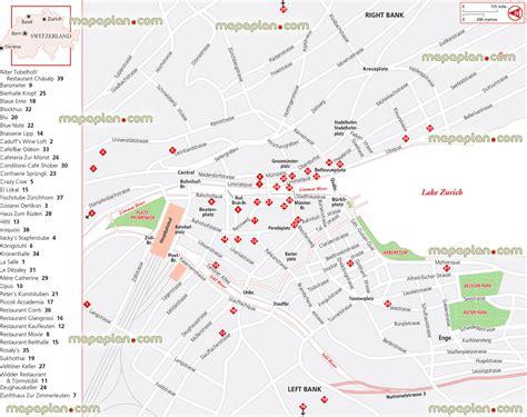 printable tourist map zurich zurich map restaurants in left right bank in zurich