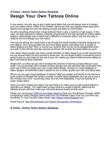 design your own tattoo free online design your own tattoos by torres issuu
