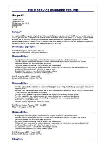 4 field service engineer resume sles