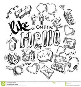 doodle free pc doodle social media symbols stock vector image 39495949