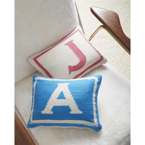 reversible junior blue letter throw pillow 9 x 12 jonathan adler