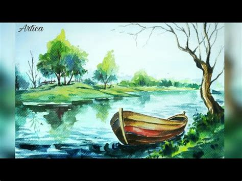 watercolor lake tutorial watercolor boat on a lake painting tutorial youtube