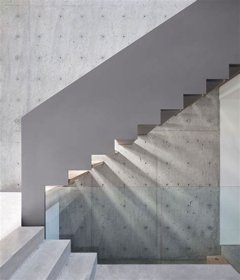 Interior Concrete Stairs Design Sleek Slope House With Interior Featuring Concrete Modern House Designs