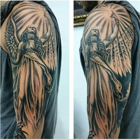angel tattoo sleeve guardian tattoos guardian