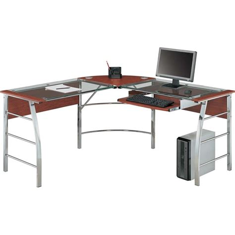 L Shaped Glass Desk Glass Top L Shaped Computer Desk In Cherry 9105296com
