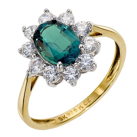 silver 9ct yellow gold created emerald ring h samuel