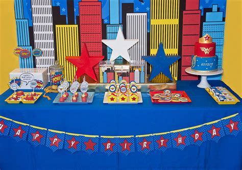 Decorations For Welcome Home Baby by A Comic Style Wonder Woman Super Hero Birthday Party