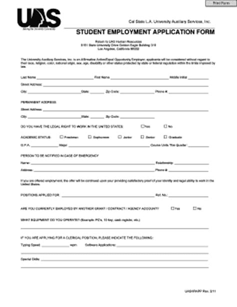 employment application template california generic application for employment form templates