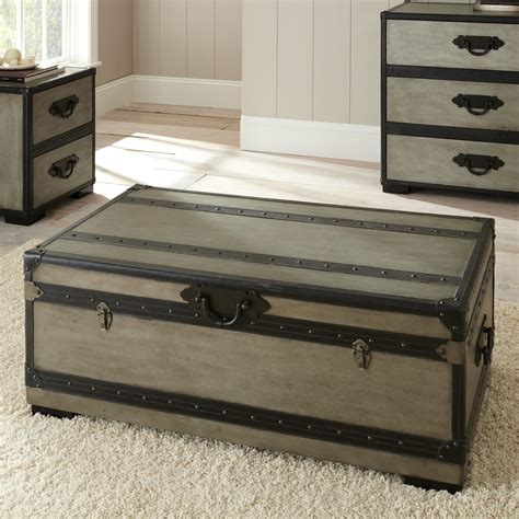 Silver Trunk Coffee Table Steve Silver Rowan Rectangle Weathered Gray Trunk Coffee Table Coffee Tables At Hayneedle