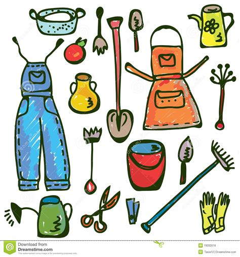 doodle how to make tools gardening tools set doodle stock vector image