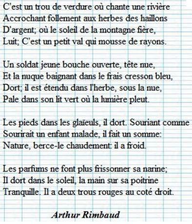 Le Dormeur Du Val Hda by Histoire Des Arts Arts Visuels Page 3 Les Bons