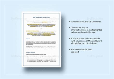 generic non disclosure agreement template sle non disclosure agreement 19 documents in pdf word