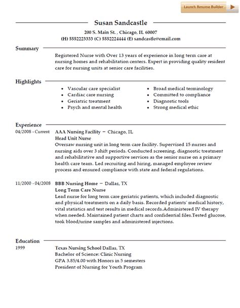 Term Care Resume Resume Template
