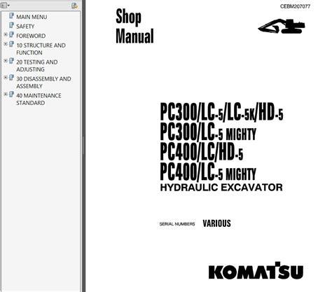 komatsu pc300 400 5 hydraulic excavator shop manual pdf