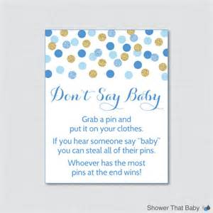 don t say baby baby shower printable blue and gold