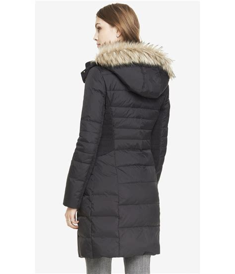 Fur Trim by Express Hooded Faux Fur Trim Fitted Puffer Coat In Black