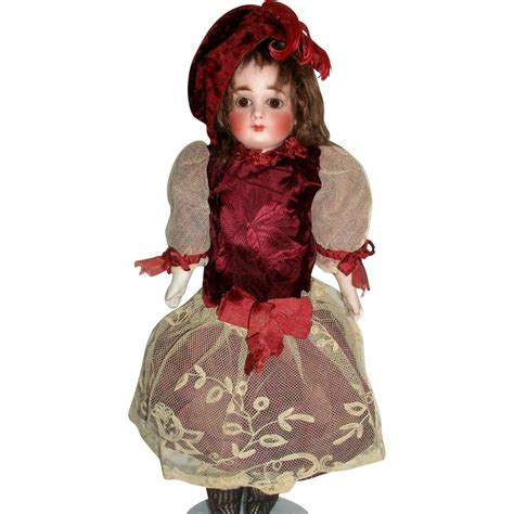 Silky Doll 1 pretty antique maroon silk doll dress w hat jumeau bru from joysofyesterday on ruby