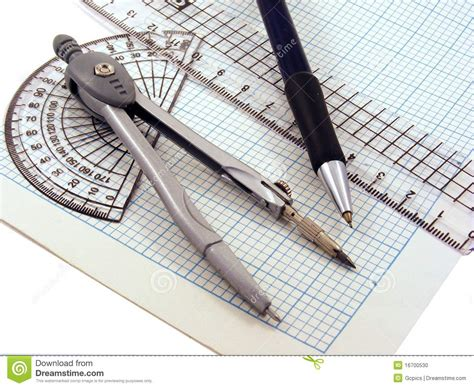 geometric set geometry set on graph paper stock photo image 16700530