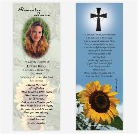 how to make memorial cards for funeral 8 best images of make your own memorial cards memorial