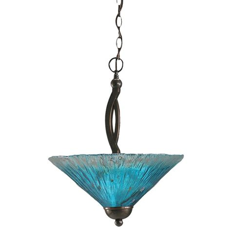 Teal Glass Pendant Light Filament Design Concord 2 Light Black Copper Pendant With