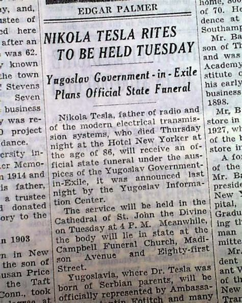 Was Nikola Tesla Murdered Nikola Tesla In 1943 Rarenewspapers