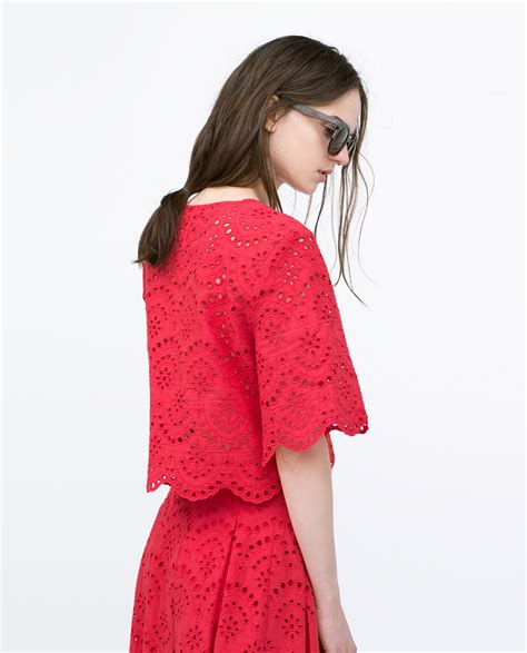 cropped embroidered zara cropped embroidered laser cut top in lyst