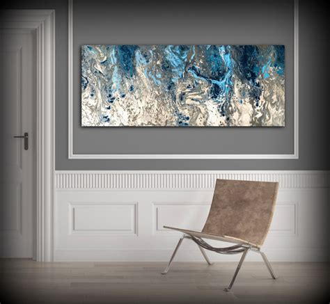 large abstract painting print navy blue print art large canvas