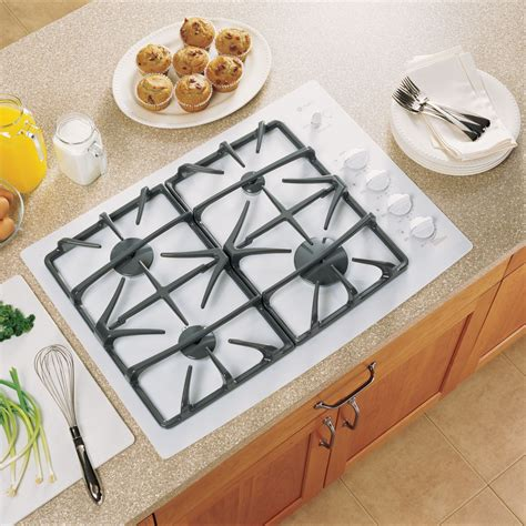 White Glass Gas Cooktop ge profile jgp940tekww 30 quot built in ceramic glass gas cooktop white sears outlet