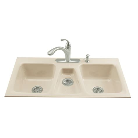 Shop Kohler Trieste Triple Basin Tile In Enameled Cast Cast Iron Kitchen Sinks