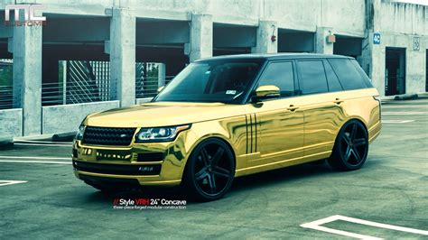 gold chrome range rover mc customs gold land rover range rover 183 vellano wheels
