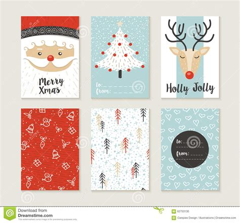 xmas pattern illustrator merry christmas card set pattern retro cute santa stock