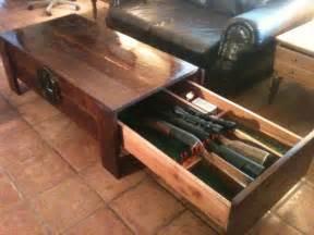 Hidden Gun Table large cedar coffee table with hidden drawer for firearms
