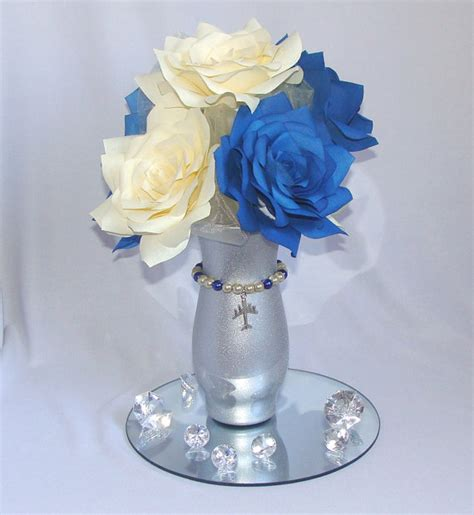 Aviation Centerpiece, Navy Blue Wedding Centerpiece, Arial Bridal Shower Decor, Navy Blue