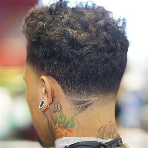 low neck short curly hair low fade haircut