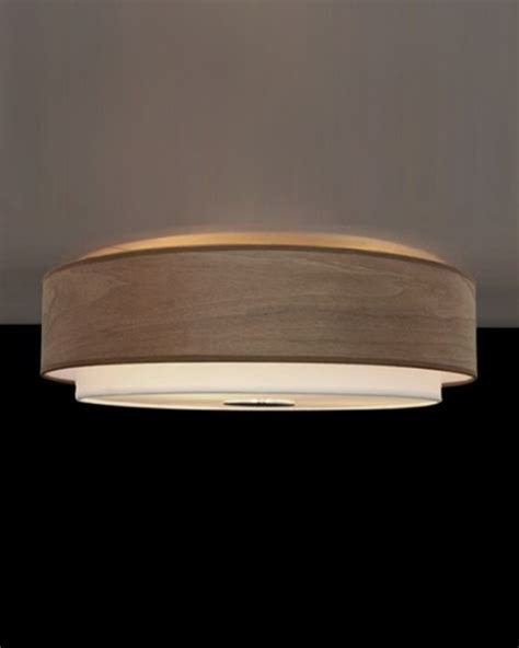 drum shape textured linen wood veneer flush mount modern