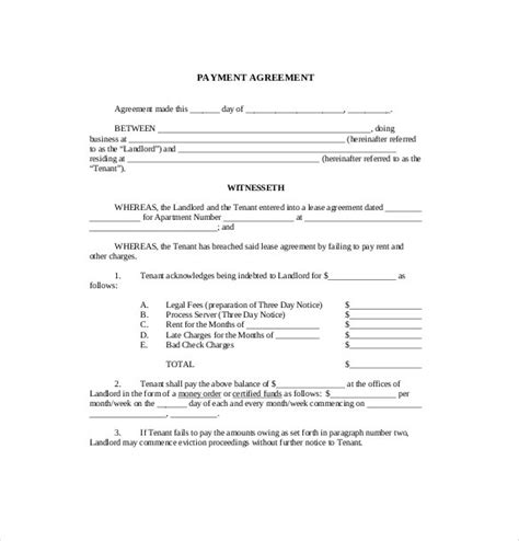 Letter Of Agreement For Advance Payment Payment Agreement Template Doliquid