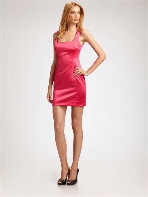 Dress Stretch Wedges Dress lyst dolce gabbana stretch satin mini dress in pink