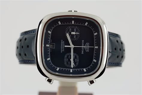 Tagheuer Silverstone White Brown Leather tag heuer silverstone chronograph re edition in blue