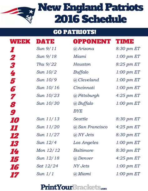 printable schedule for new england patriots printable new england patriots schedule 2016 football season