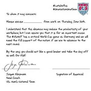 Excuse Letter For Attending Youth C Usa S Soccer Excuse Letter For Missing Work To The Go Usa I Believe Don T