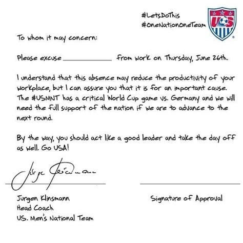 Excuse Letter Missing Work usa s soccer excuse letter for missing work to the go usa i believe don t