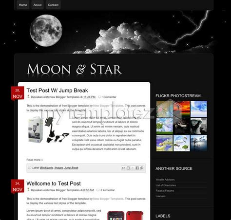 blogspot themes black free templates blogger templates personal blog moon n star