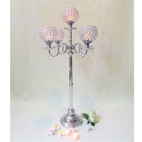 wholesale candelabras centerpieces hotsale 5 arm glass silver candelabra with flower bowl candelabra centerpieces