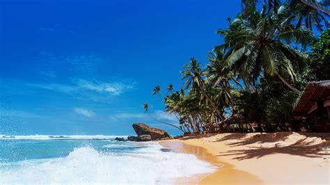 wallpaper pantai pasir laut langit cerah alam
