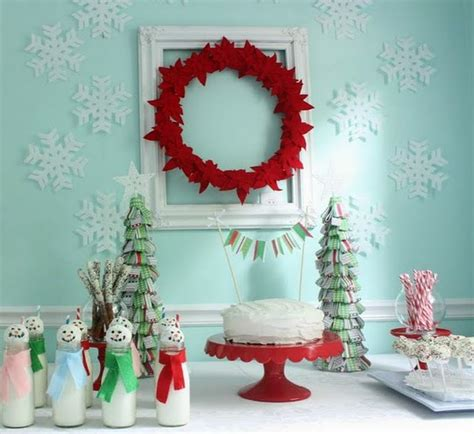 colorful christmas tabletop decor ideas white red purple and teal