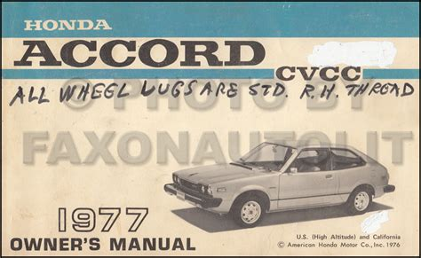 auto repair manual online 1983 honda accord user handbook 1977 honda accord cvcc owner s manual original for california and high altitude