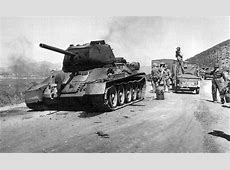 Destroyed T-34 Tank along the road during the Korean War ... Ww2 Sherman Tanks For Sale
