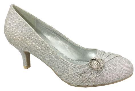 new womens silver wedding bridal prom low heel