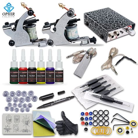 tattoo needle kit ophir complete tattoo kit 2 tattoo machine guns 6 color