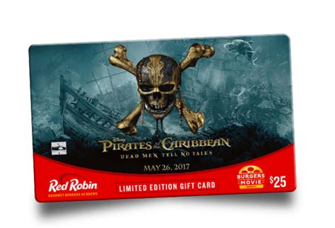 Red Robin Pirates Gift Card - free pirates of the carribean movie ticket w red robin gift card purchase